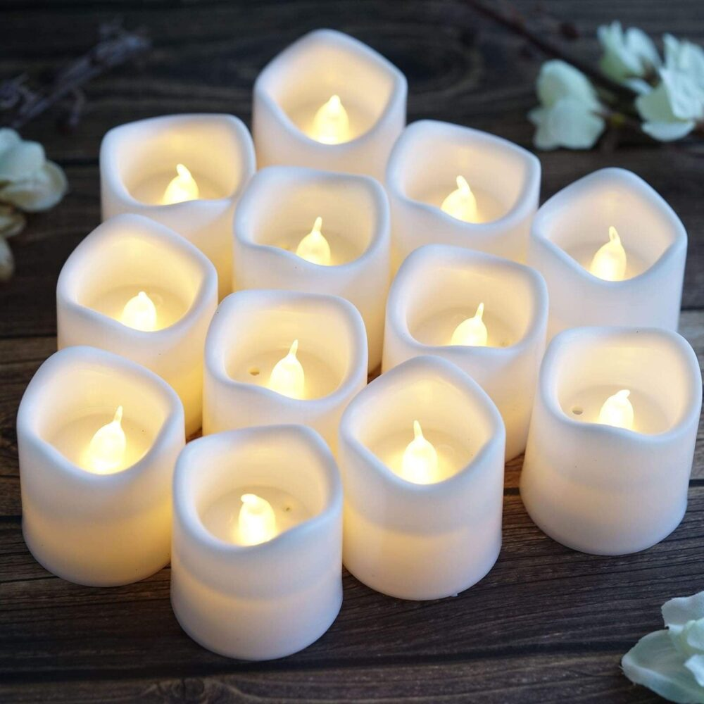 12 Pack | 2 White Flameless Candles, Led Votive Battery Operated Tealight Dripless Candle Gift