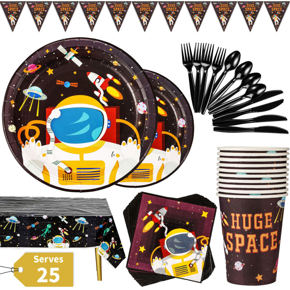 Outer Space Party Supplies 177Pcs Astronaut Planet Theme Children Birthday Disposable Dinnerware Set Includes Plates & More Serves 25