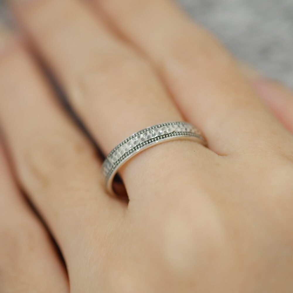 Sterling Silver Dainty Hammered Band Ring, Minimalist Ring, Boho Style, Wedding Band, Bohemian Gift For Her, Plain Ring, Simple Ring