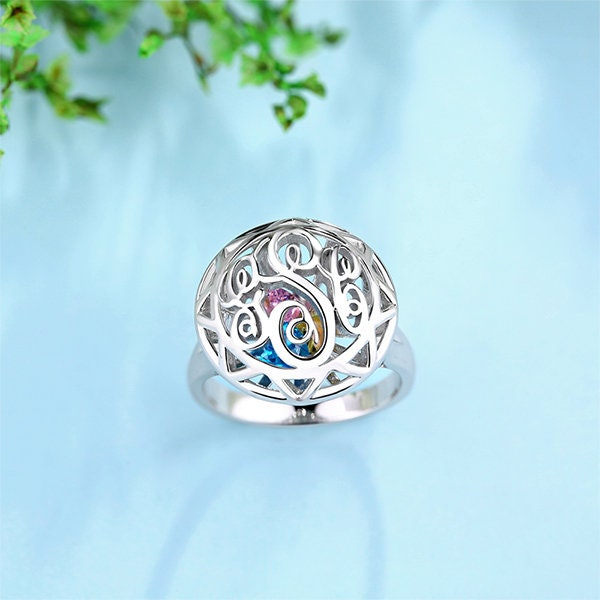 Family Birthstone Ring, Monogram Cage Ring For Mother, Engraved Initial Mom