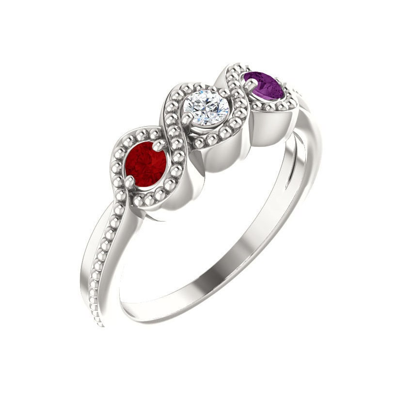 Family Birthstone Ring 2 - 3 Stones Personalized Sterling Silver Mother's Day Jewelry