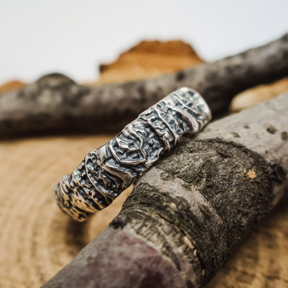 Mens Wedding Band Lava Texture Sterling Silver Ring For Men Gift Him. Viking
