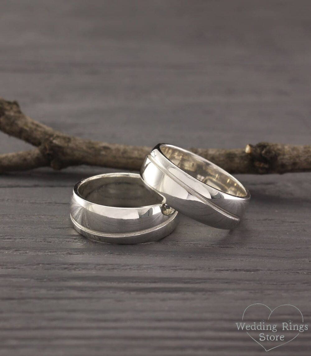 Wave Wedding Bands, His & Hers Wave Rings, Big Silver Women Band, Men Ring, Her Promise Ring