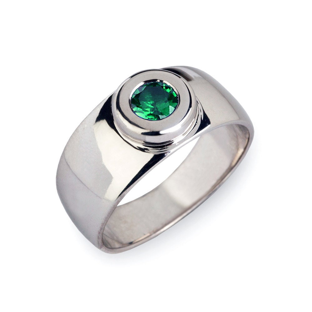 Aura Silver Emerald Band, Wedding Green Ring, Wide Mens Engagement Unique Men Ring