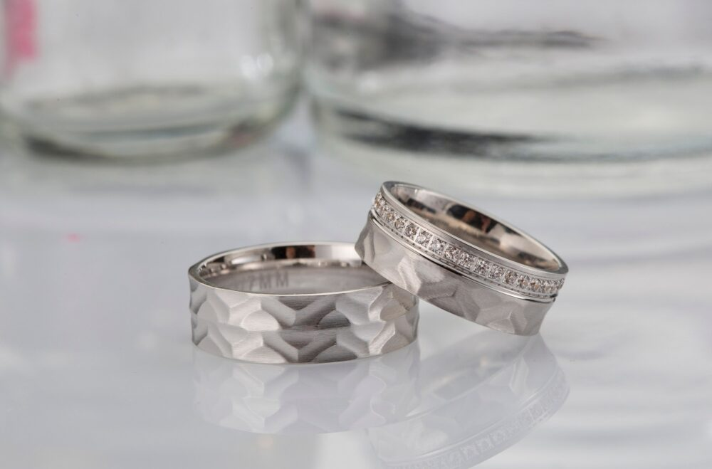 0, 4 Ct Silver Wedding Band Set/Diamond Couple Ring For Men & Women Sterling Mens - Silver Band