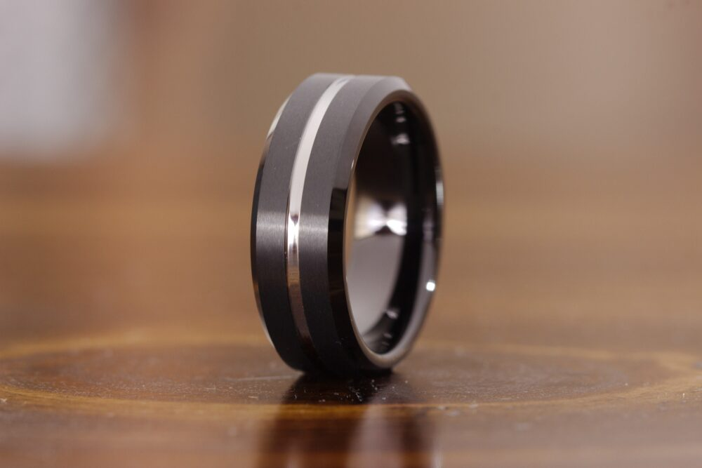 Mens Black & Silver Wedding Ring, Band, Groove, Engagement Promise Masculine Manly Band
