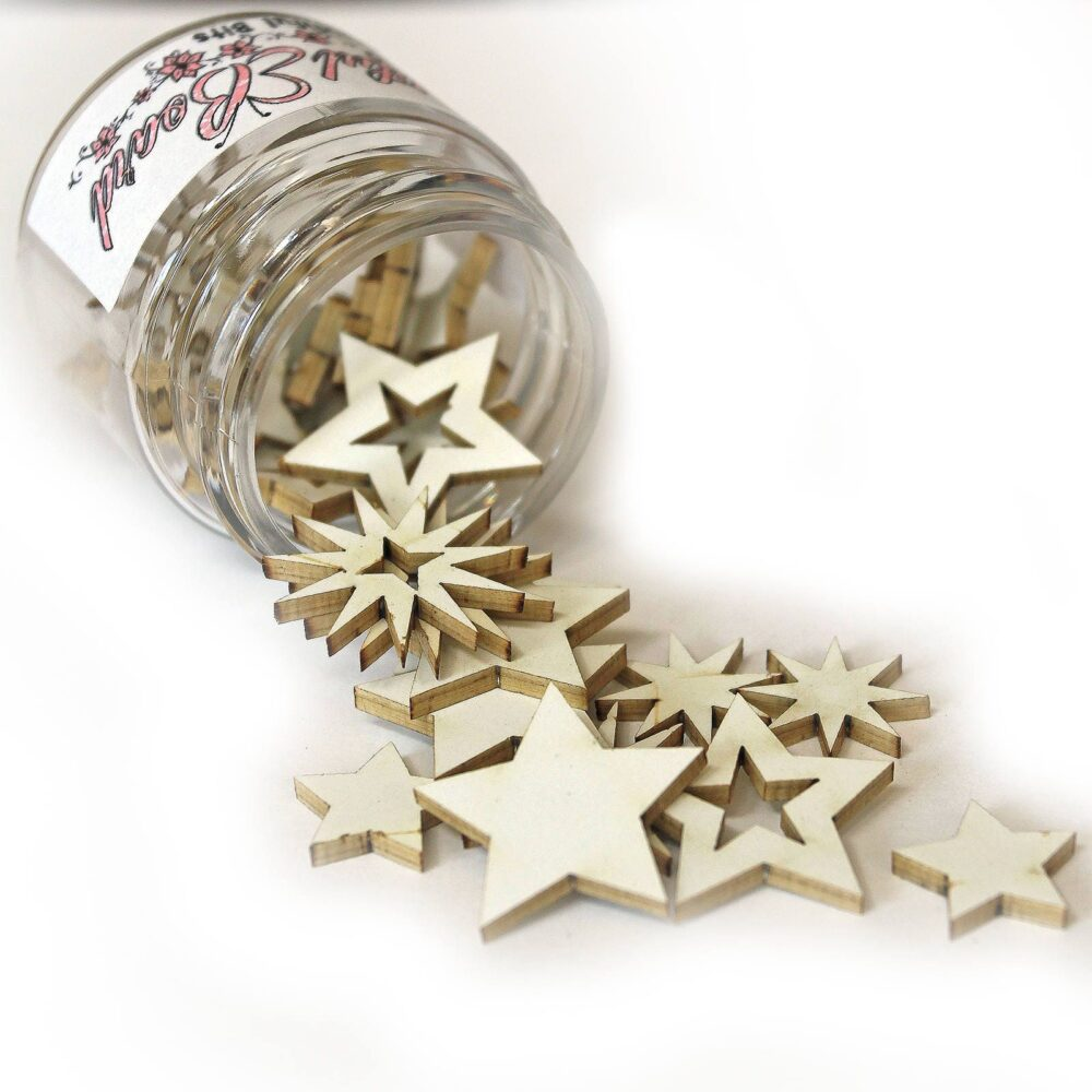 Reneabouquets Beautiful Board - Bits Stars Laser Cut Chipboard Double Side Vintage White Coated