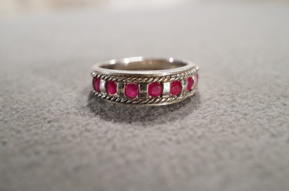 Vintage Sterling Silver Wedding Band Stacker Design Ring 7 Round Inset Ruby Fancy Multi Stone Setting Art Deco Style, Size 5