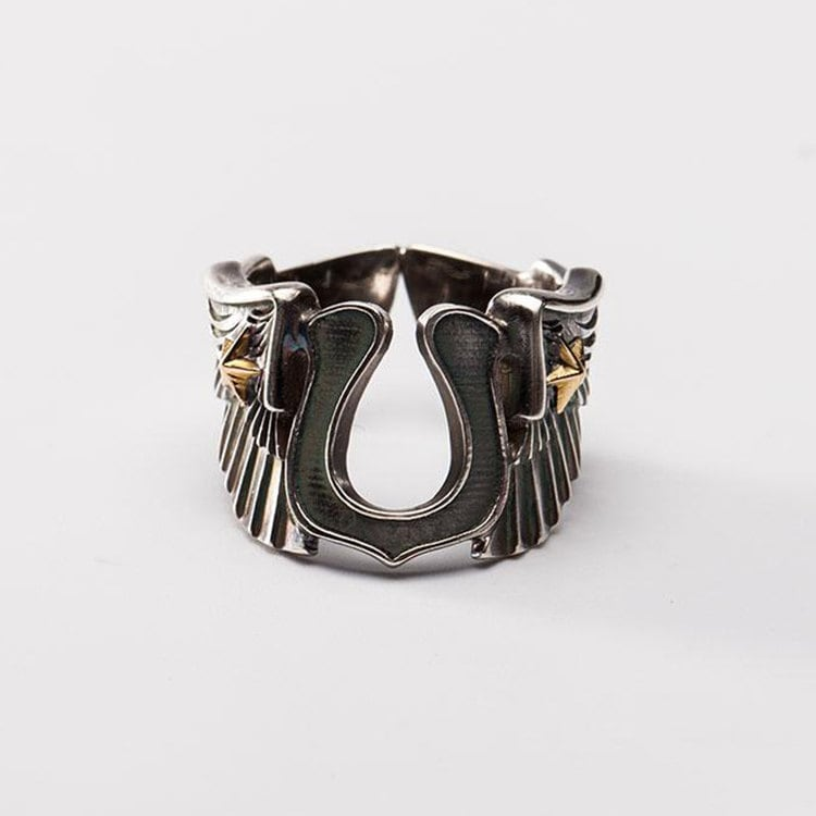 Horseshoe Ring Men, Angel Wing Ring, Biker Sterling Silver Band, Gold Star Motorcycle Gifts For Him, Husband Gift Rings