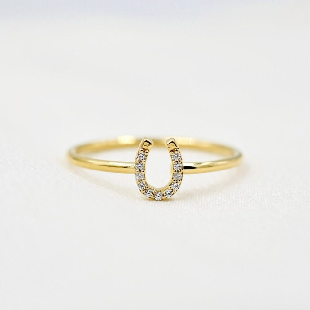 Horseshoe Ring, Mini Gold Or Silver Horse Shoe Stacking Dainty Good Luck Charm, Lucky