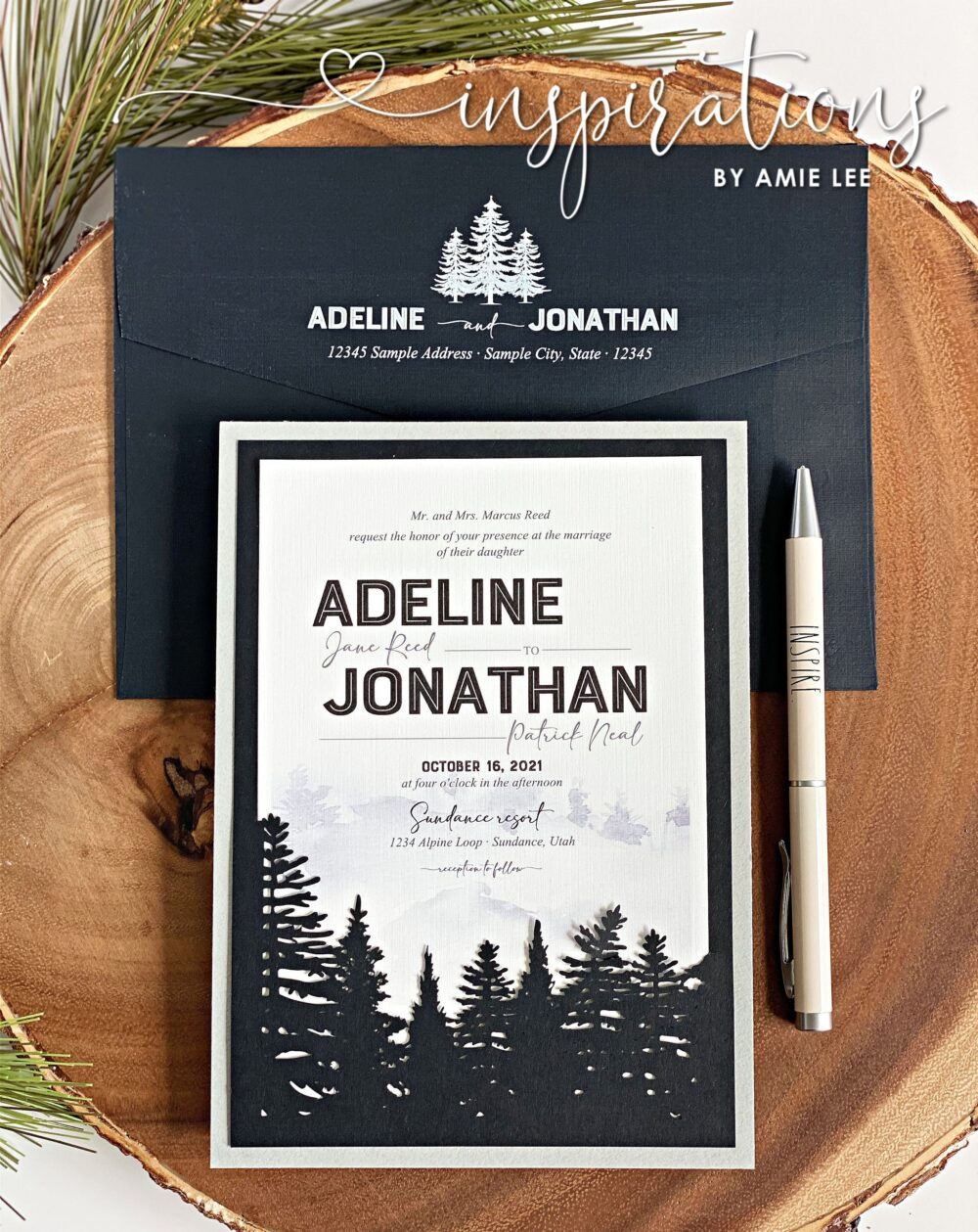 Rustic Forest Wedding Invitations, Elegant Woods Wedding, Elegance, Classic in The Woods, in Mountains