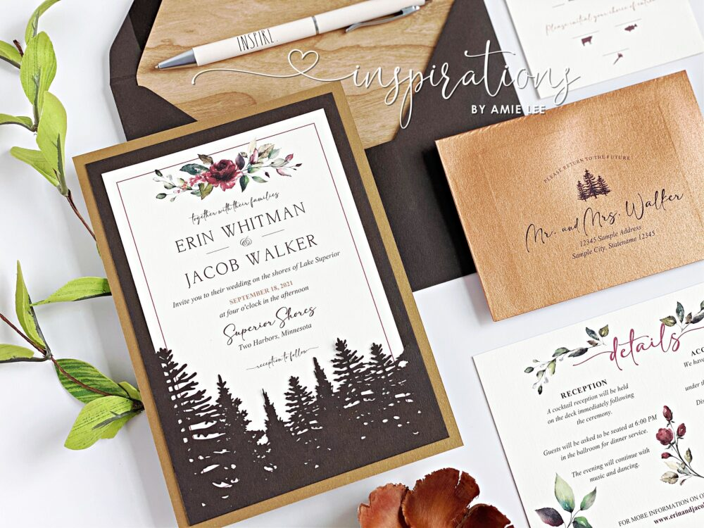 Rustic Forest Wedding Invitations, Elegant Woods Wedding, Elegance, Classic in The Woods, Mountain Fall