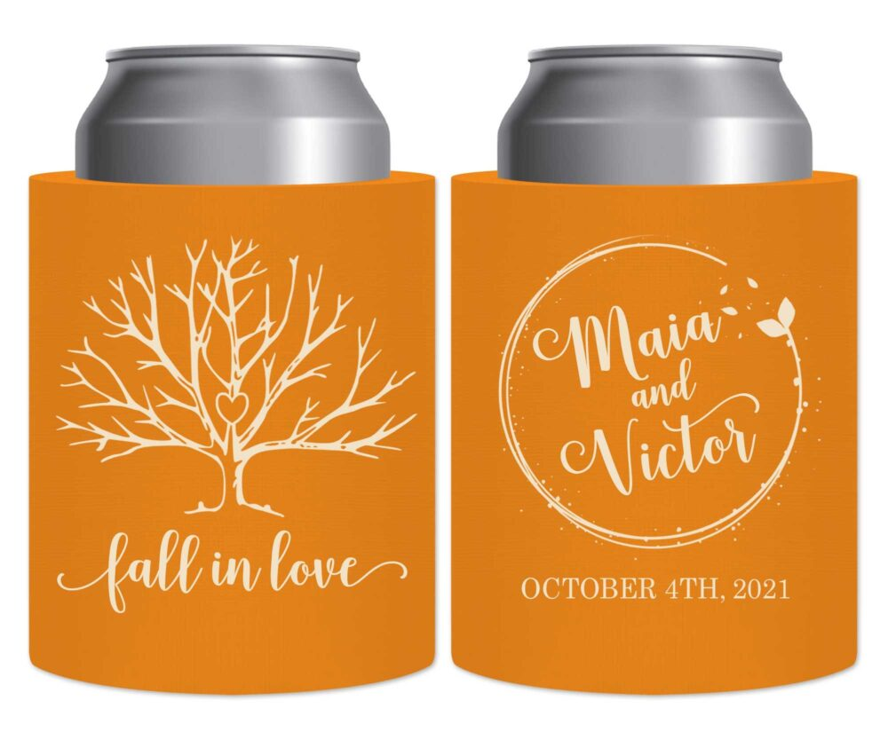 Fall Wedding Favors Autumn Decor Beer Can Coolers Hard Foam Holders Rustic in Love 6A