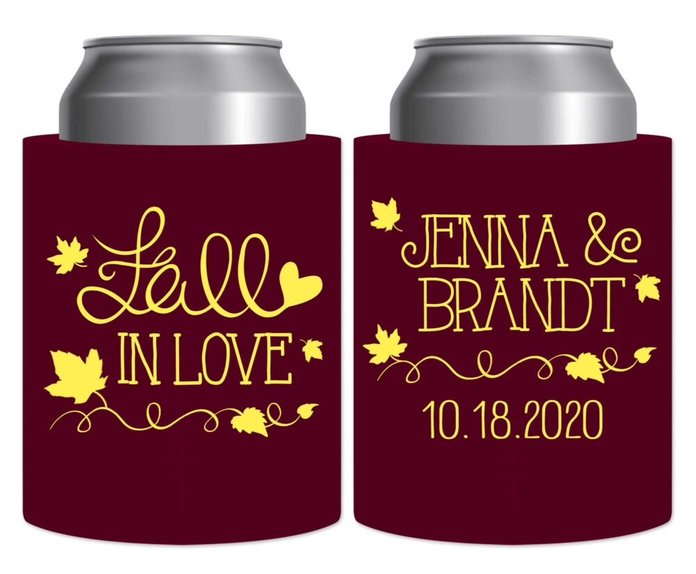 Fall Wedding Favors Autumn Decor Beer Can Coolers Hard Foam Holders Rustic in Love 3A