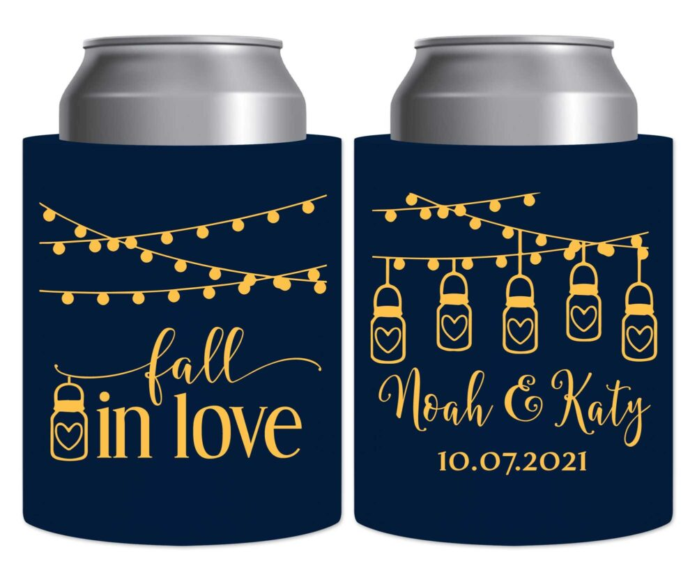 Fall Wedding Favors Autumn Decor Beer Can Coolers Hard Foam Holders Rustic in Love 7A