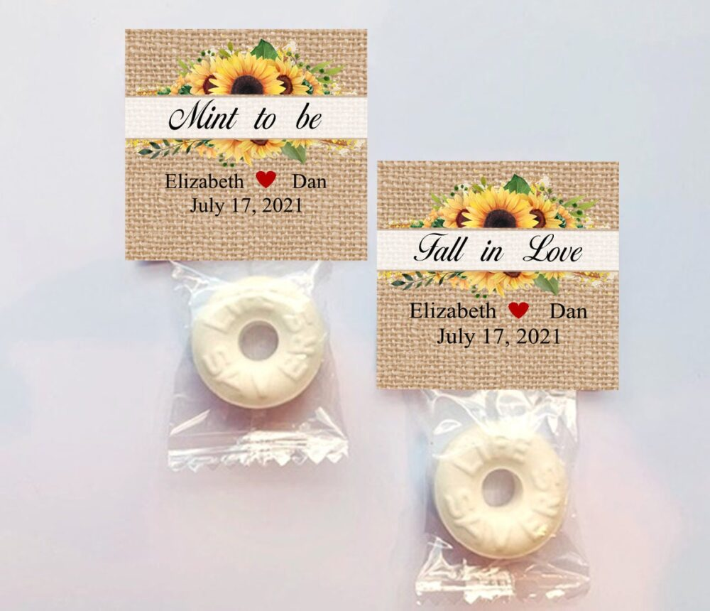 Mint Wedding Favors/Bridal Shower Anniversary Personalized/ Lifesaver Sunflower/ Fall in Love To Be