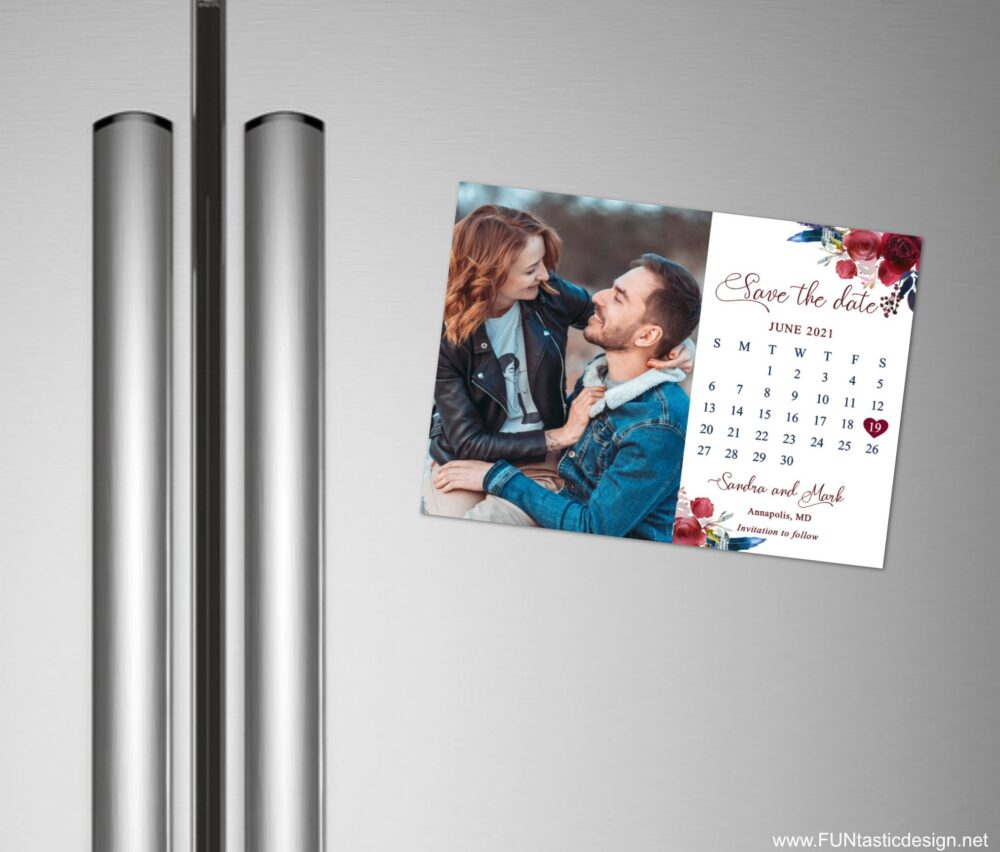 Wedding Save The Date Magnets + Envelopes, Magnet Photo, Save Date Calendar, Boho Wedding With Photo