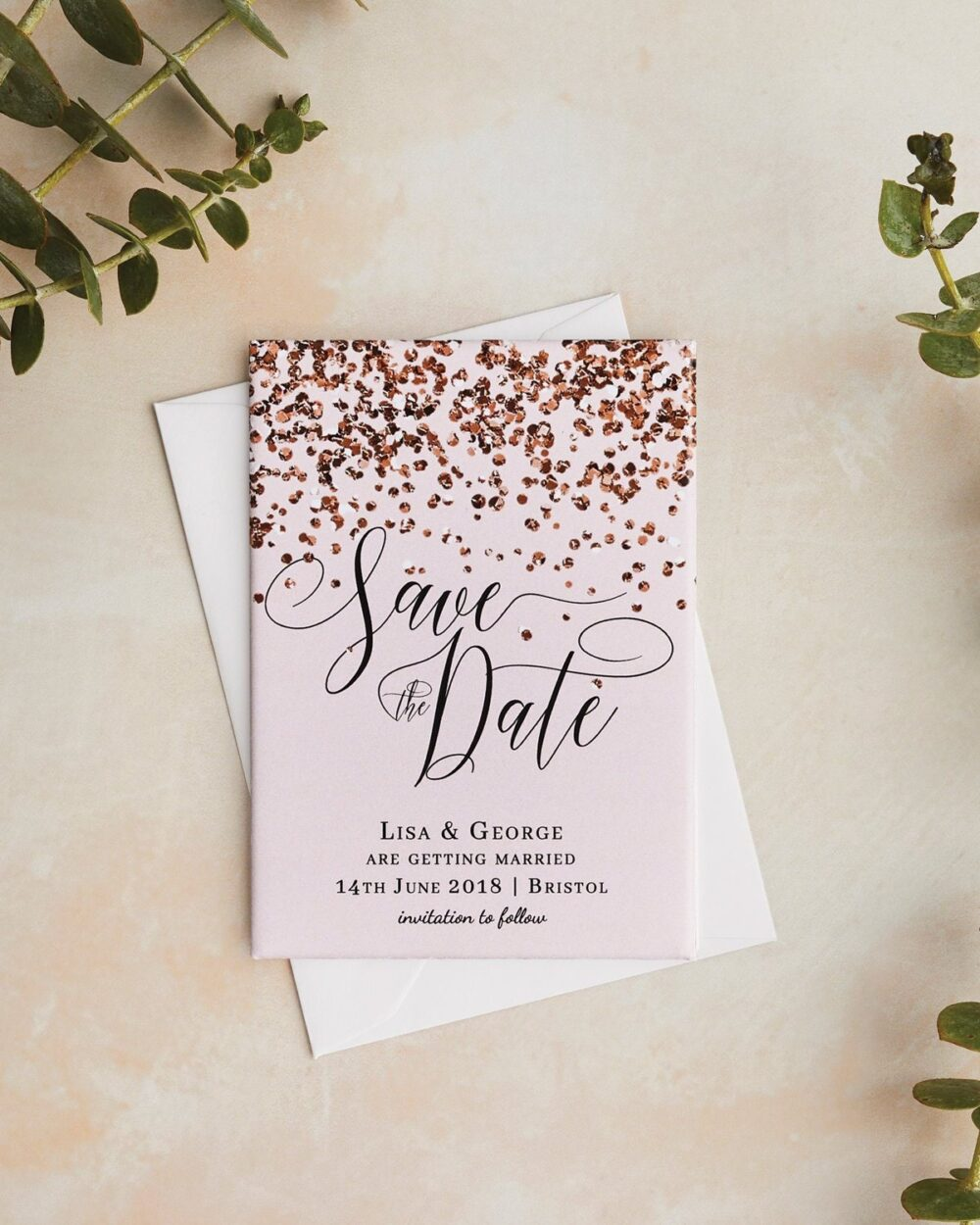 Wedding Save The Date Magnets   All That Glitters Collection Elegant Blush Pink & Rose Gold - Personalised