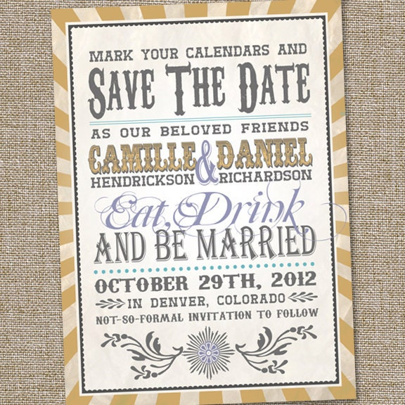 Vintage Retro Save The Date, Wedding Announcement, Printable, Eat Drink & Be Married