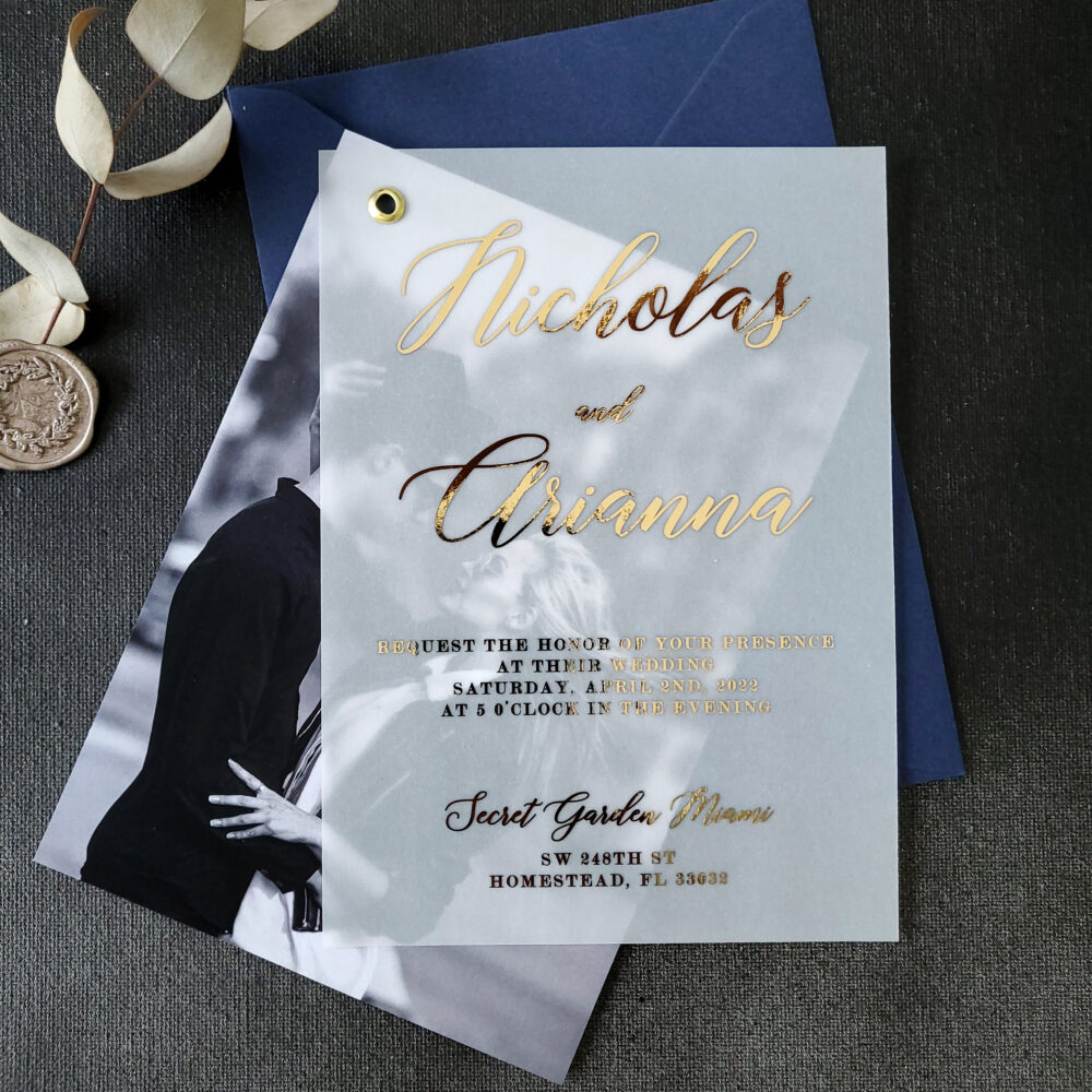 Elegant Vellum Wedding Invitations With Gold Foil & Picture, Personalized Foiled Invitation in Gold, Silver, Rose Gold, Custom Photo Invites