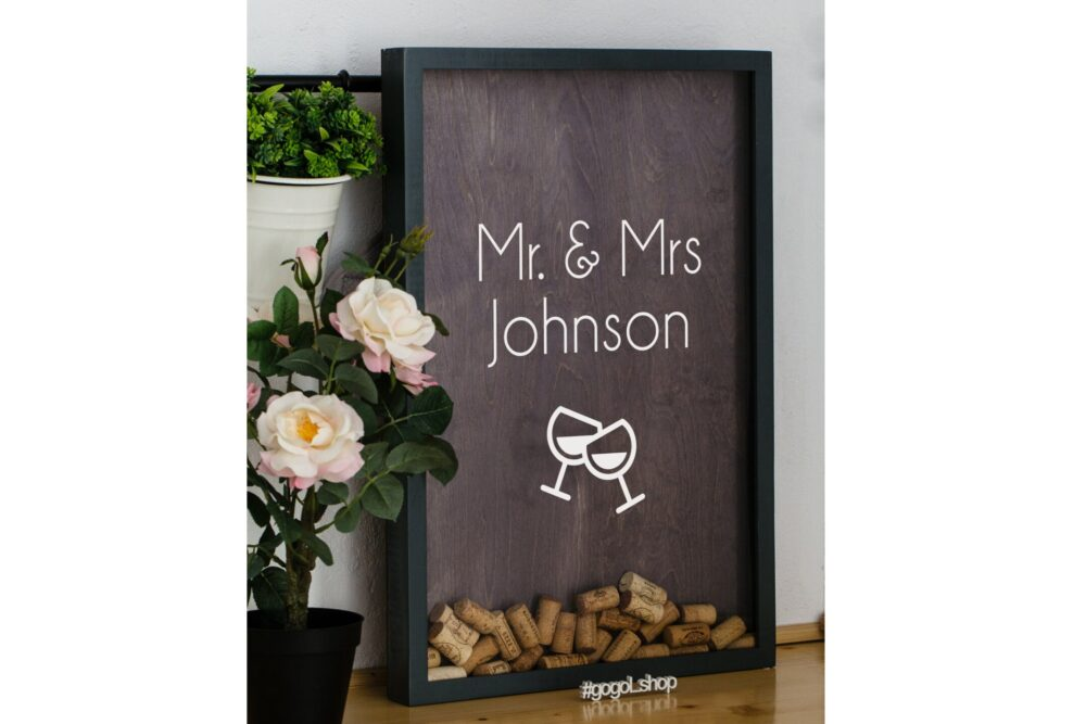 Big Wine Cork Holder For Wedding & Engagement, Engraved Guest Book Shadow Box Alternative, Personalized Wooden Gift Couple Anniversary