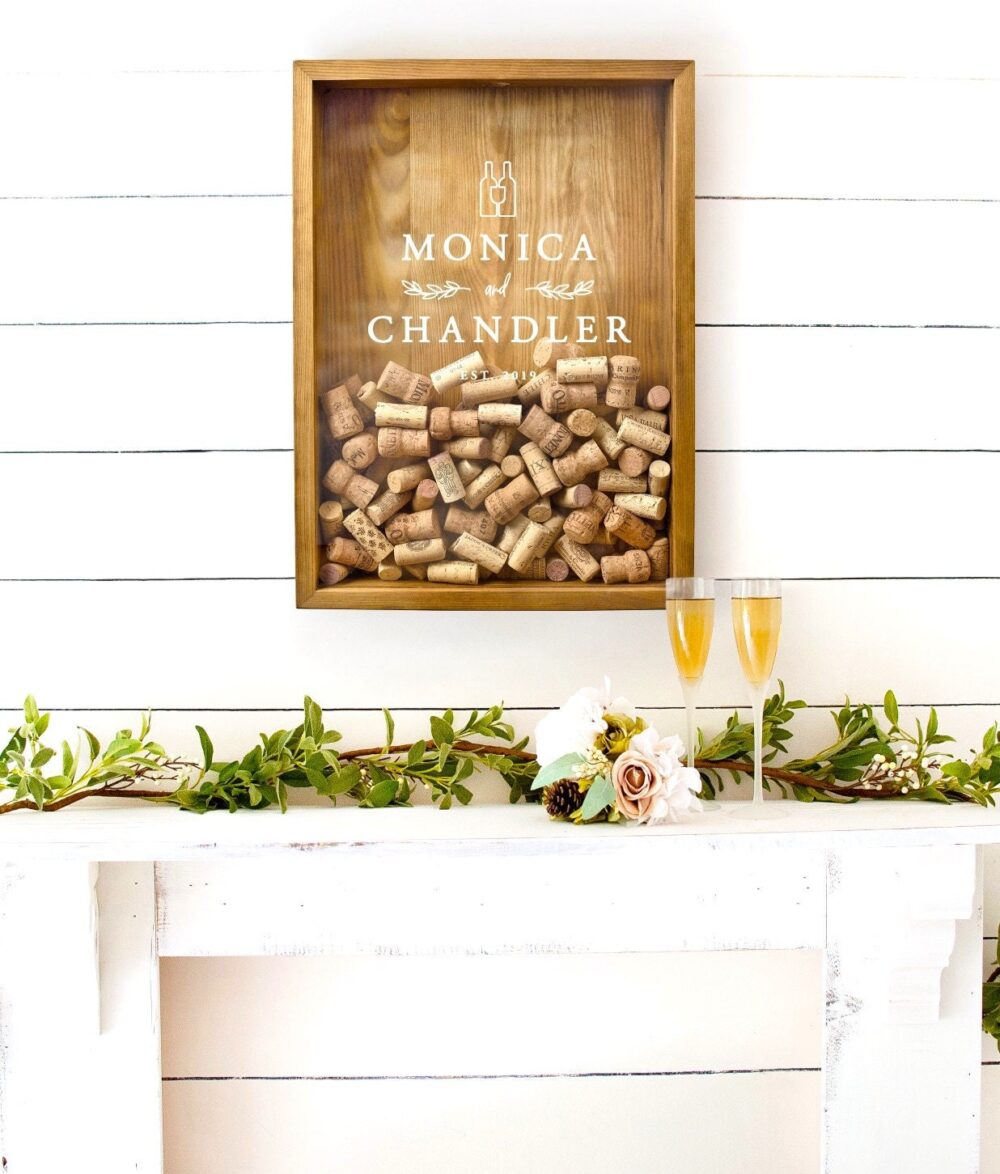 Customized Wine Cork Holder | Personalized Wedding Couple Gift Wood Shadow Box Keeper Guest Book Alternative Guestbook