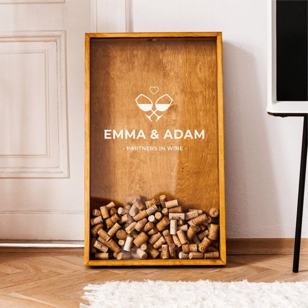 Wine Cork Shadow Box   Funny Couple Gift Custom Wedding Personalized Holder Decor  Rustic Guest Book