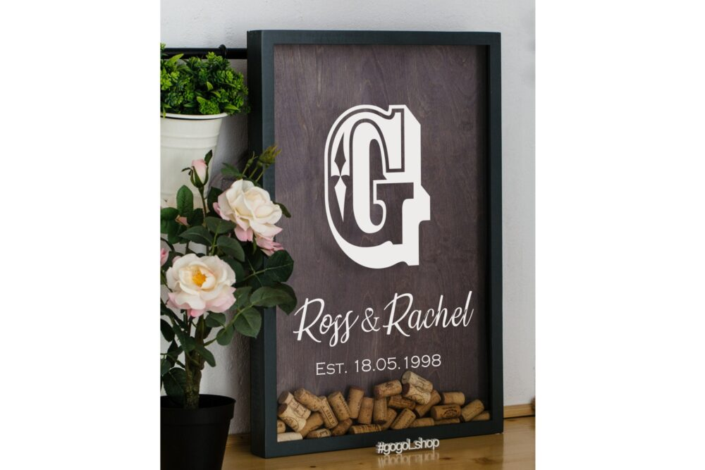 Wine Cork Keeper For Wedding, Lover Gift, Guest Book Shadow Box, Personalized Kitchen Gift Couple, Anniversary Husband Wine
