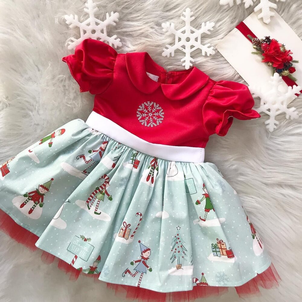 Holiday Party Dress, Christmas Photo Girl Dress, Lace 1st Red & Green Dress