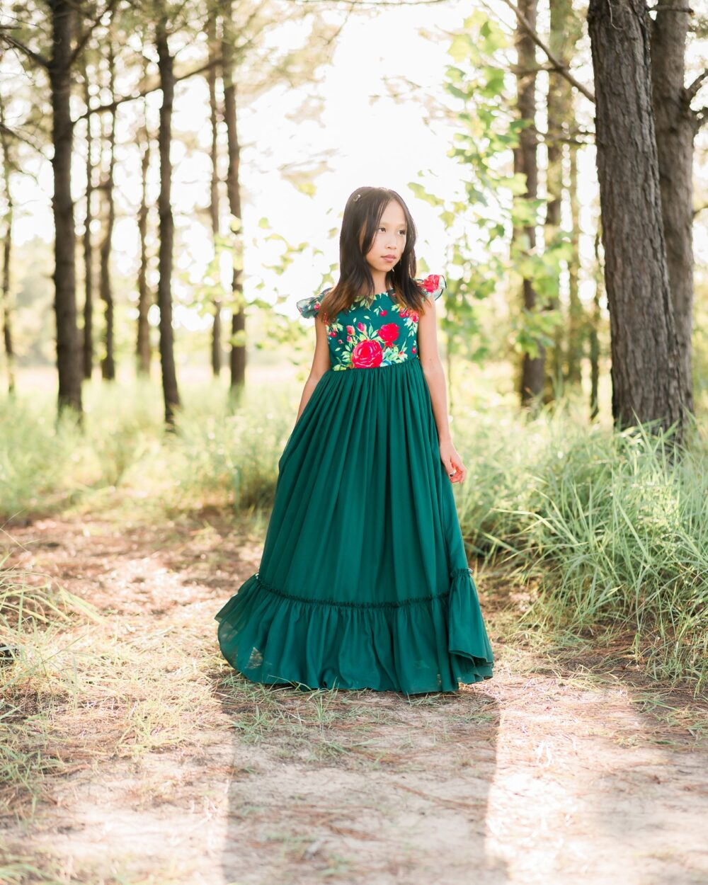 Tween Christmas Dress | Girl Holiday Party Green & Red Floral Maxi Boho Photography Toddler Emma