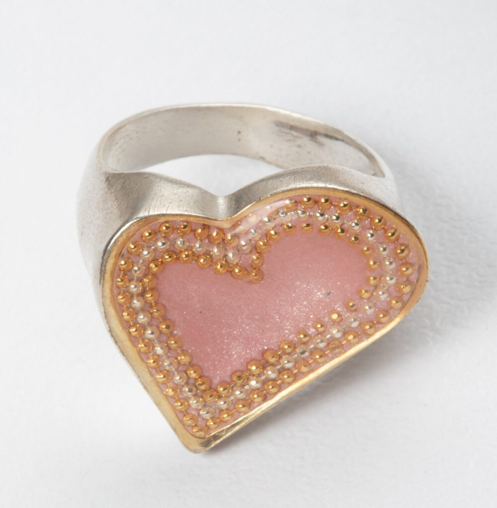 Pink Heart Ring, Pink Silver Ring, Statement Ring, Heart Boho Chunky Sterling