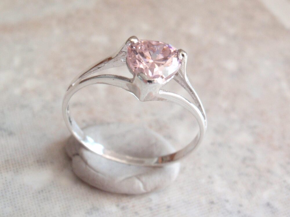 Pink Heart Ring Sterling Silver Cubic Zirconia Cz Size 6-3/4 Vintage