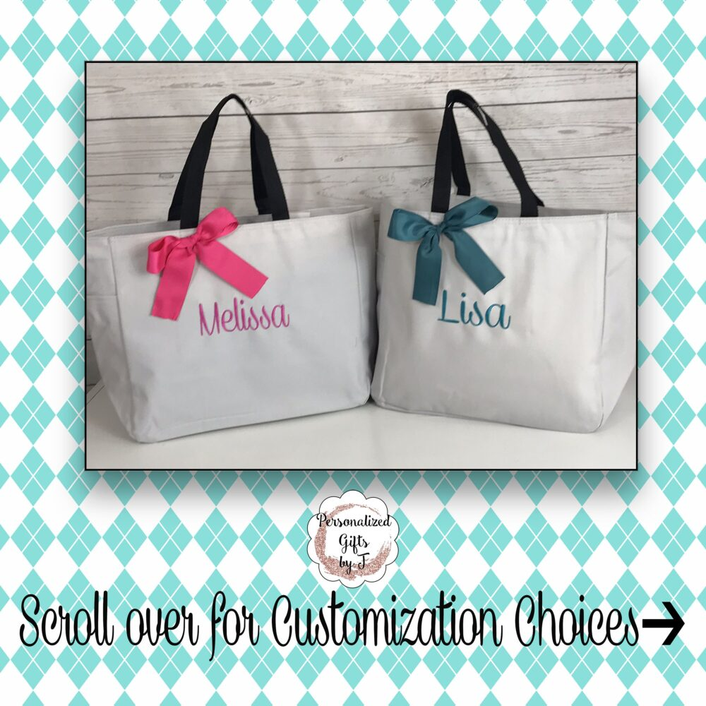 Personalized Bridesmaid Gift Tote Bags- Gift- Bridemaid - Wedding Party Name Tote-   Ess1