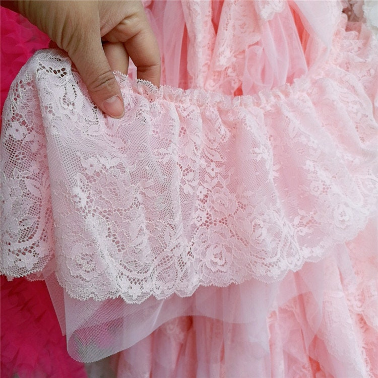 5 Yards Pink Double Layer Lace Trims, Lace Appliques, Doll Sewing Accessories, Diy For Supplies, Width 8.2 Inches