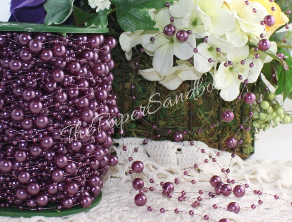 Lavender Pearl Beads By The Yard, Bead Garland