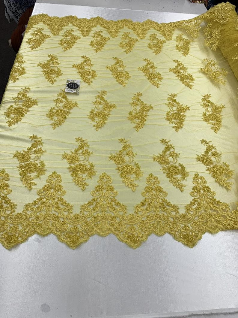 By The Yard Beaded Mesh Lace Bridal Fabric Embroidery Flowers/ Floral Design For Wedding Lace, Night Gowns, Prom, , Costumes, Veil. Yellow