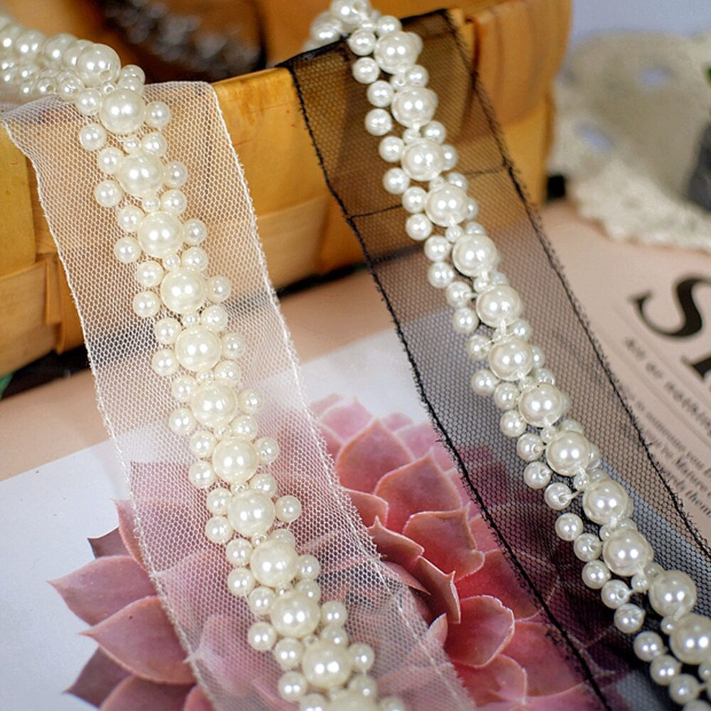 Pearl Lace Trim By Yard Bridal Dress Pearls Belt Wedding Accessories Beaded Embellished For Shorts, Garters