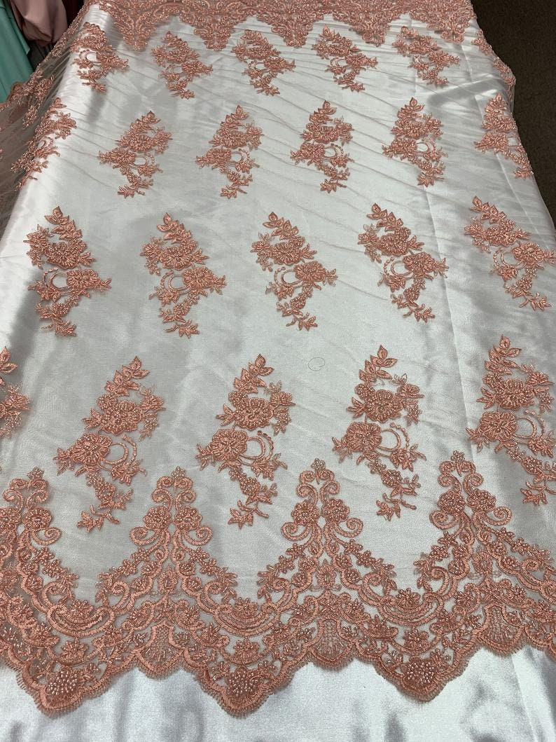 By The Yard Beaded Mesh Lace Bridal Fabric Embroidery Flowers/ Floral Design For Wedding Lace, Night Gowns, Prom, , Costumes, Veil(Pink/Coral