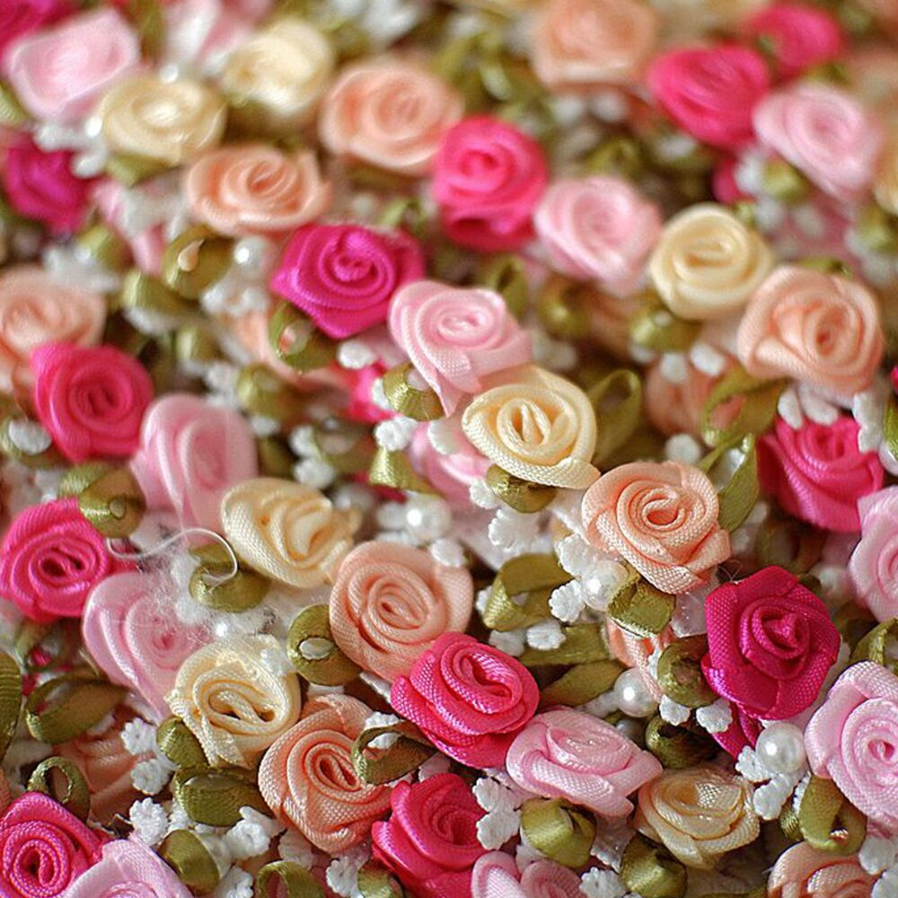 3D Rose Ribbon Trim By Yard Beaded Blossom Fringe Trims Delicate Accents For Wedding Party Gift Decoration