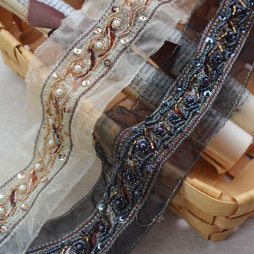Antique Beaded Organza Trim By Yard Pearls Belt Trimming Sewing Embellished For Partycostumes