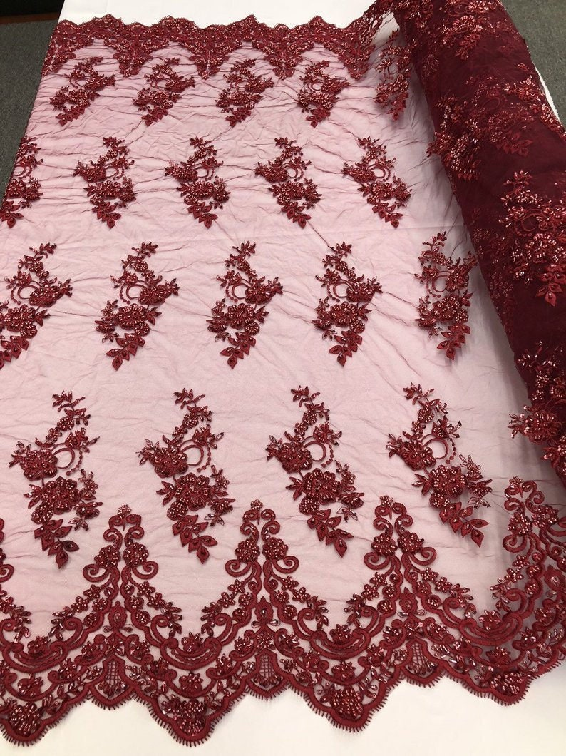 By The Yard Beaded Mesh Lace Bridal Fabric Embroidery Flowers/ Floral Design For Wedding Lace, Night Gowns, Prom, , Costumes, Veil(Burgundy