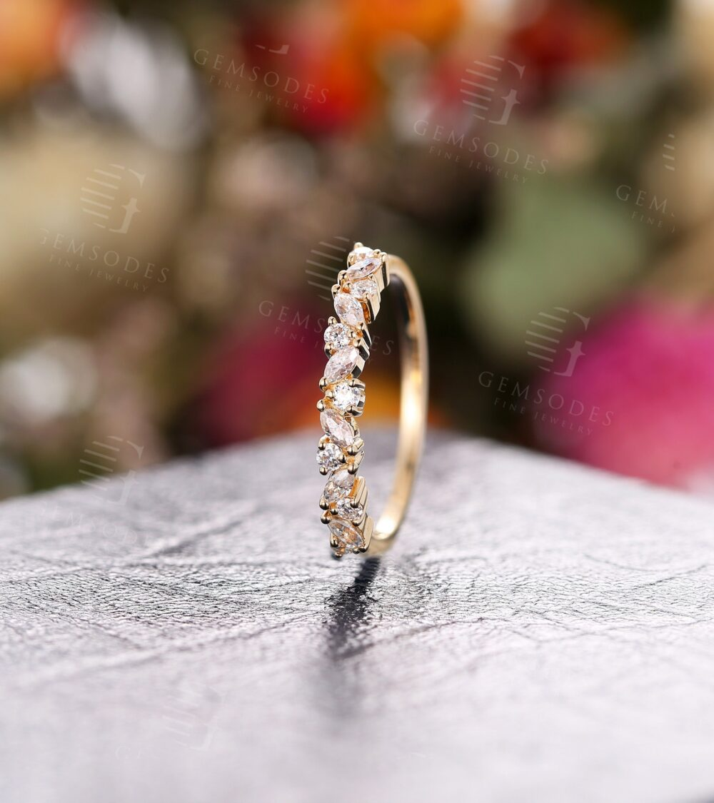 Vintage Moissanite Marquise Cut Wedding Band Rose Gold Engagement Band Women, Half Eternity Promise Ring Anniversary