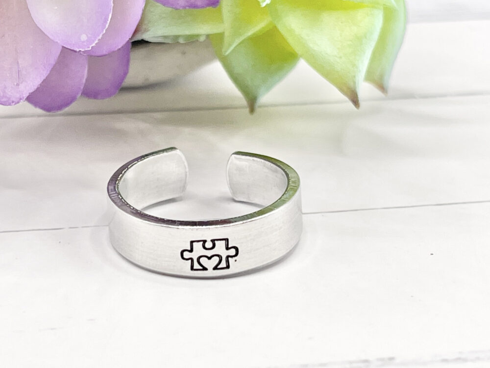 Autism Ring Hand Stamped. Custom Gifts For Him Her. Puzzle Piece Ring, Awareness Love Ring, Adjustable Your Own Design Rings