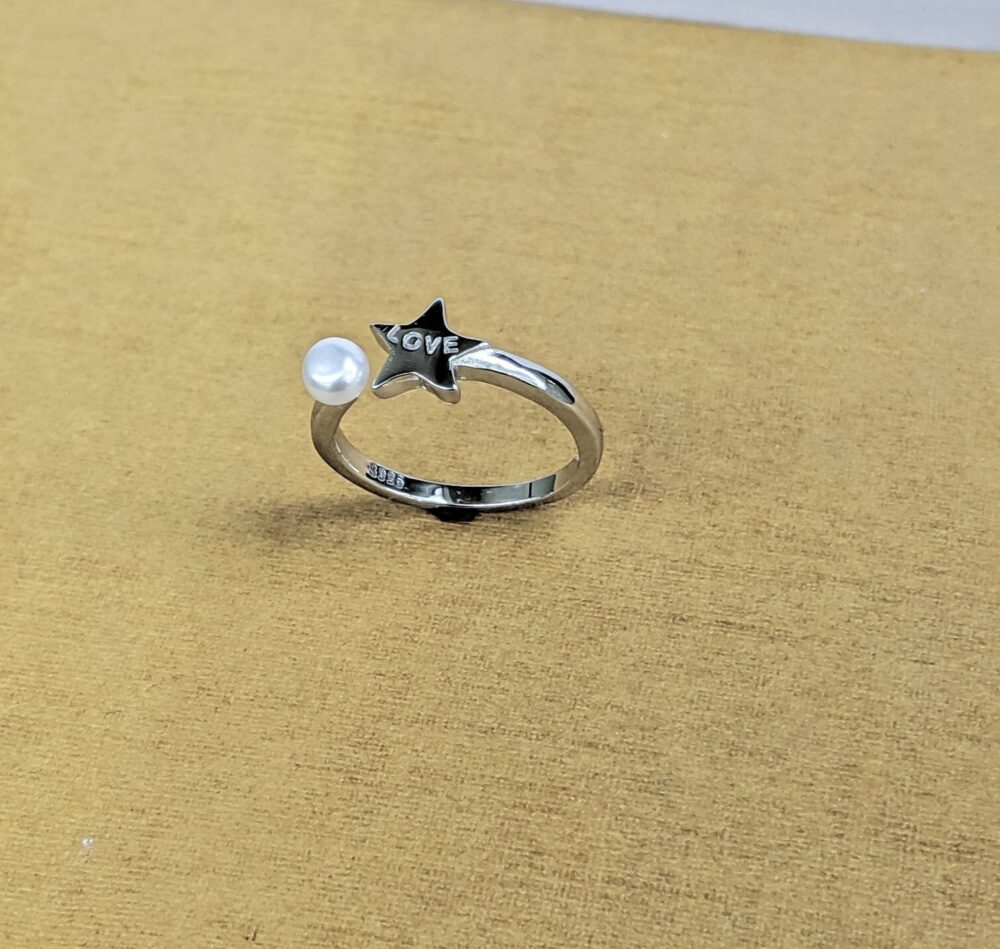 925 Sterling Silver Star Love Ring/Dainty Women Freshwater Pearl Fashion Friendship Gift For Her