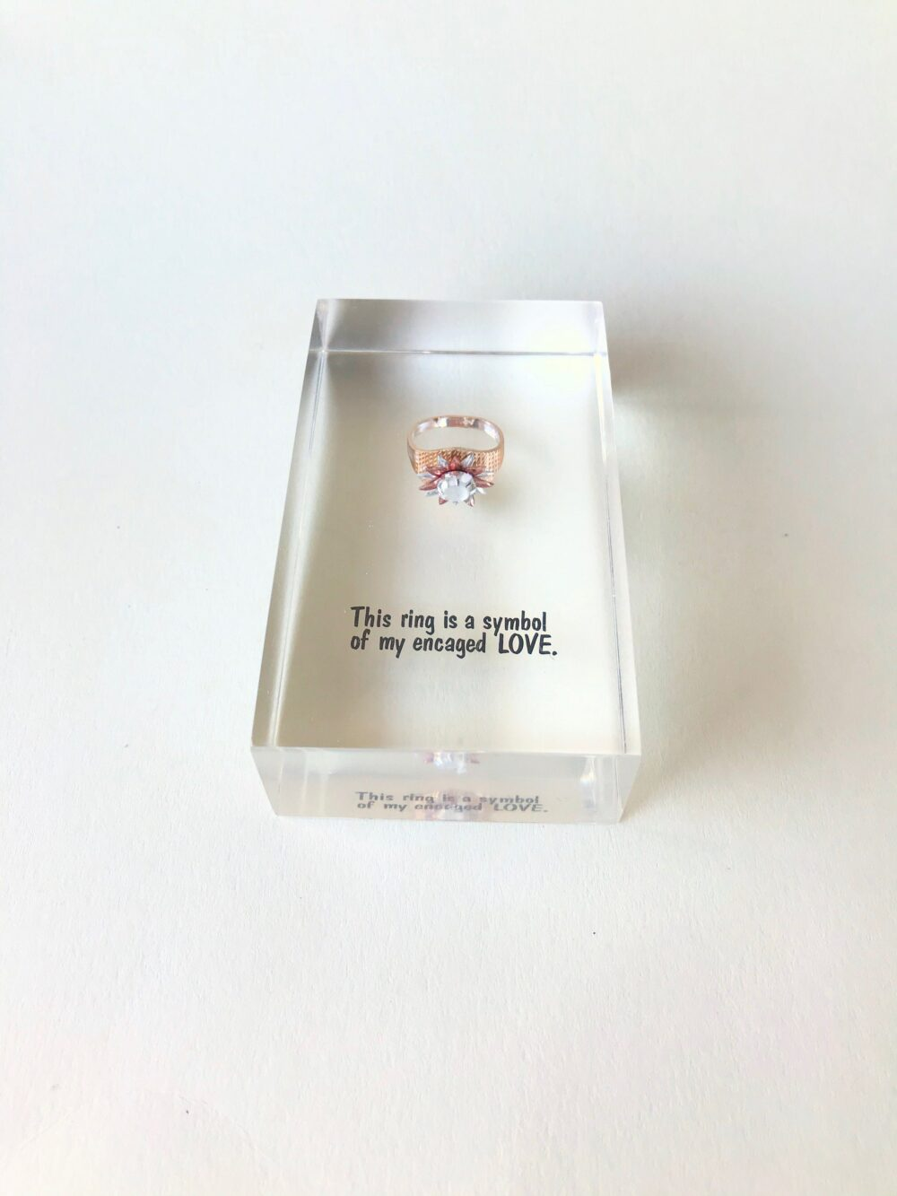 Vintage Acrylic Brick With Suspended Ring Inside, Symbol Of Love Ring, Funny