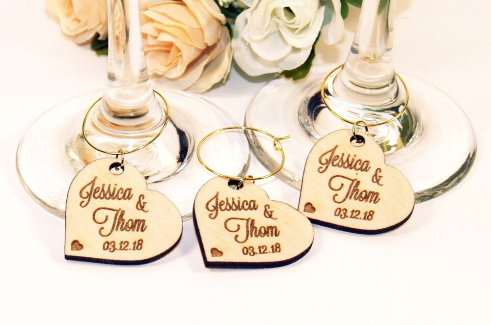 100 Wedding Wine Charms, Wine Glass Place Setting Name, Custom Accessories, Favors, Table Names Decor