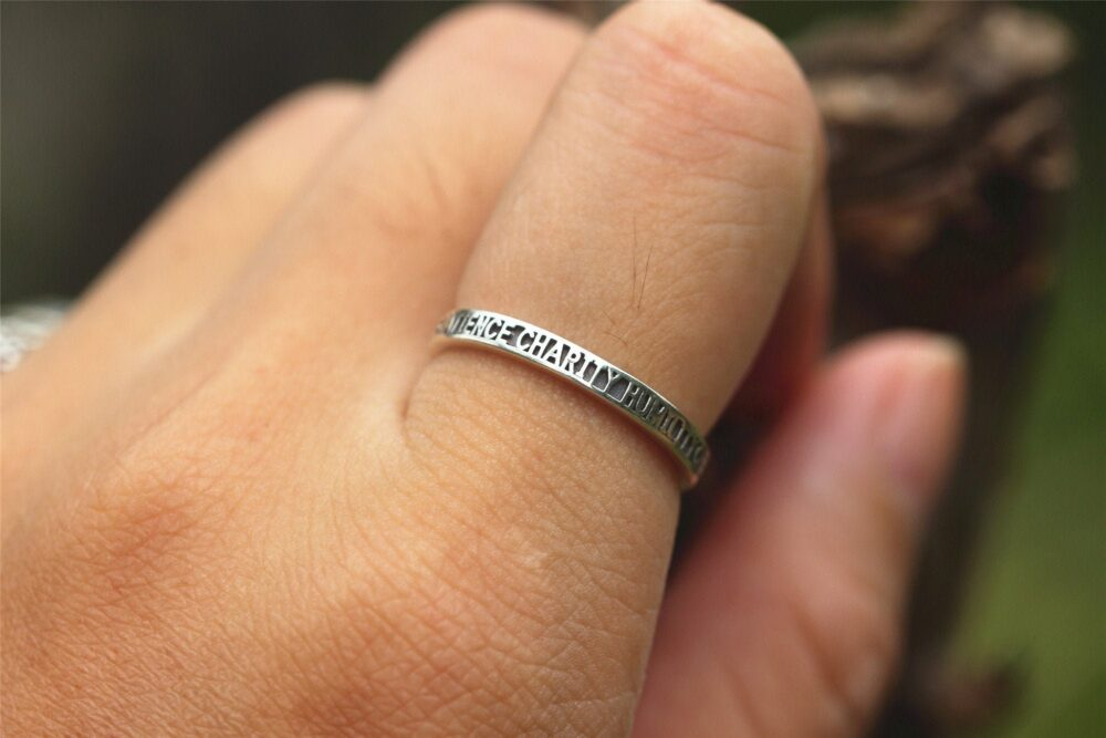 925 Silver Promise Ring, Chastity , Temperance , Kindness , Diligence , Patience , Charity , Humility Jewelry, Virtue Jewelry