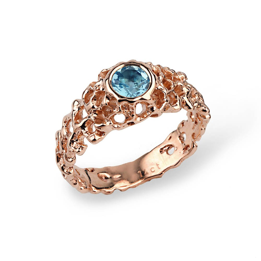 Coral Swiss Blue Topaz Engagement Ring, Rose Gold Solitaire Anniversary