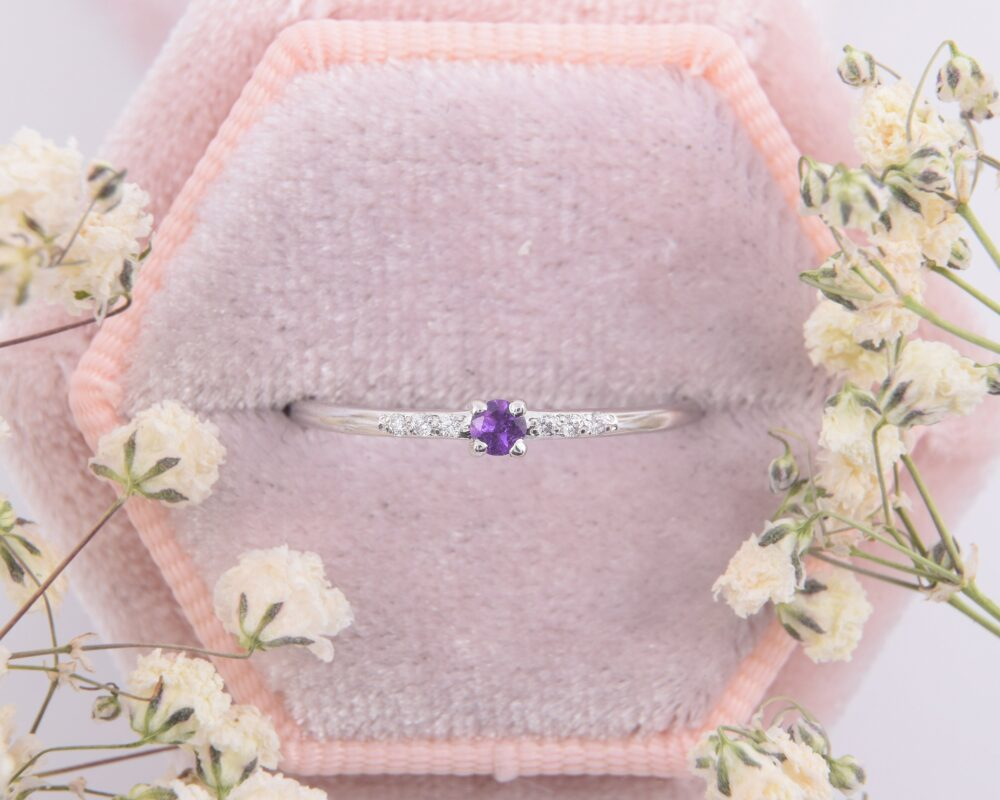 14K Solid White Gold Amethyst Promise Ring For Her, Small & Dainty Womens Ring, Womens Ring, Unique Delicate
