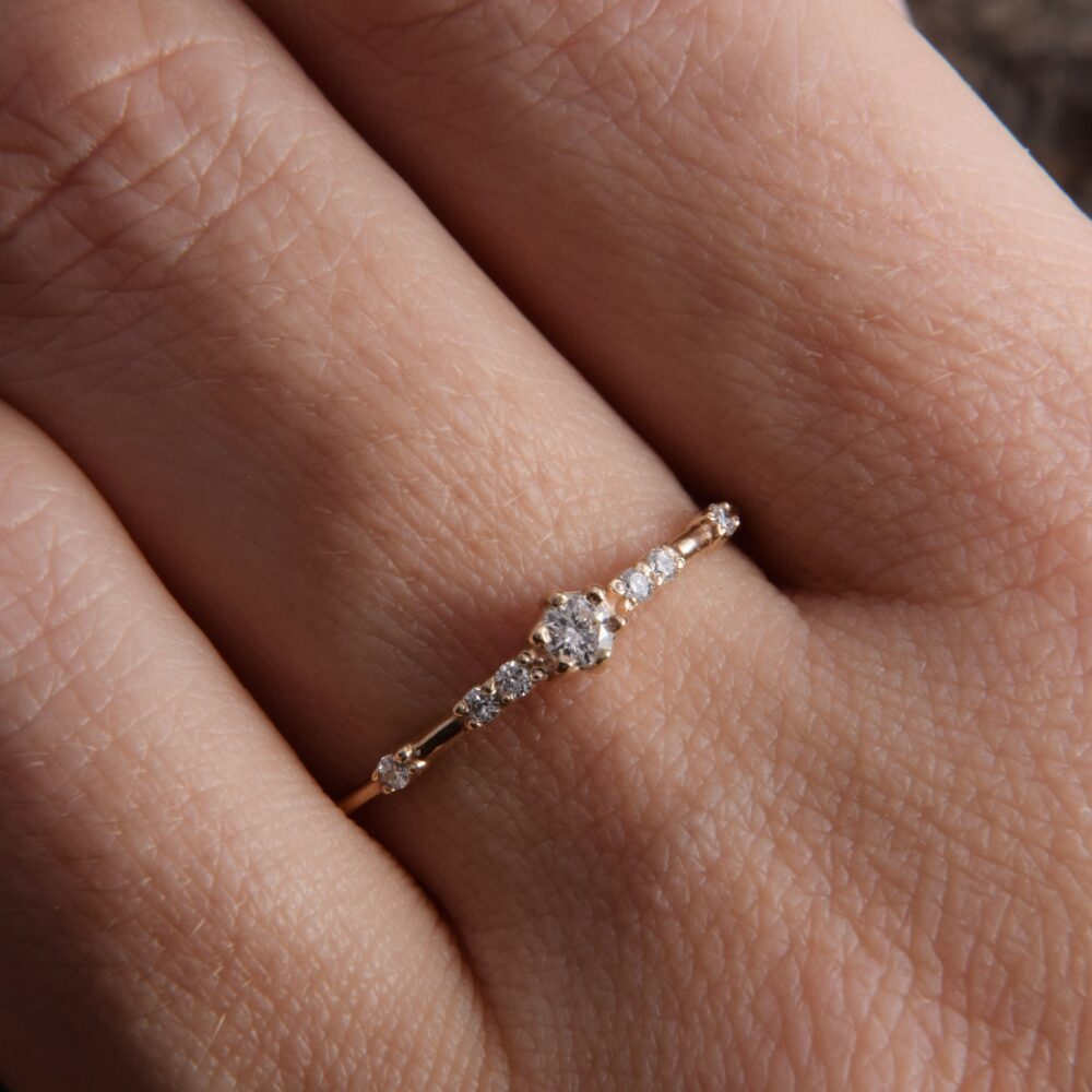 Womens Dainty Yellow Gold Promise Ring, Delicate Minimalist Ring For Her, Small